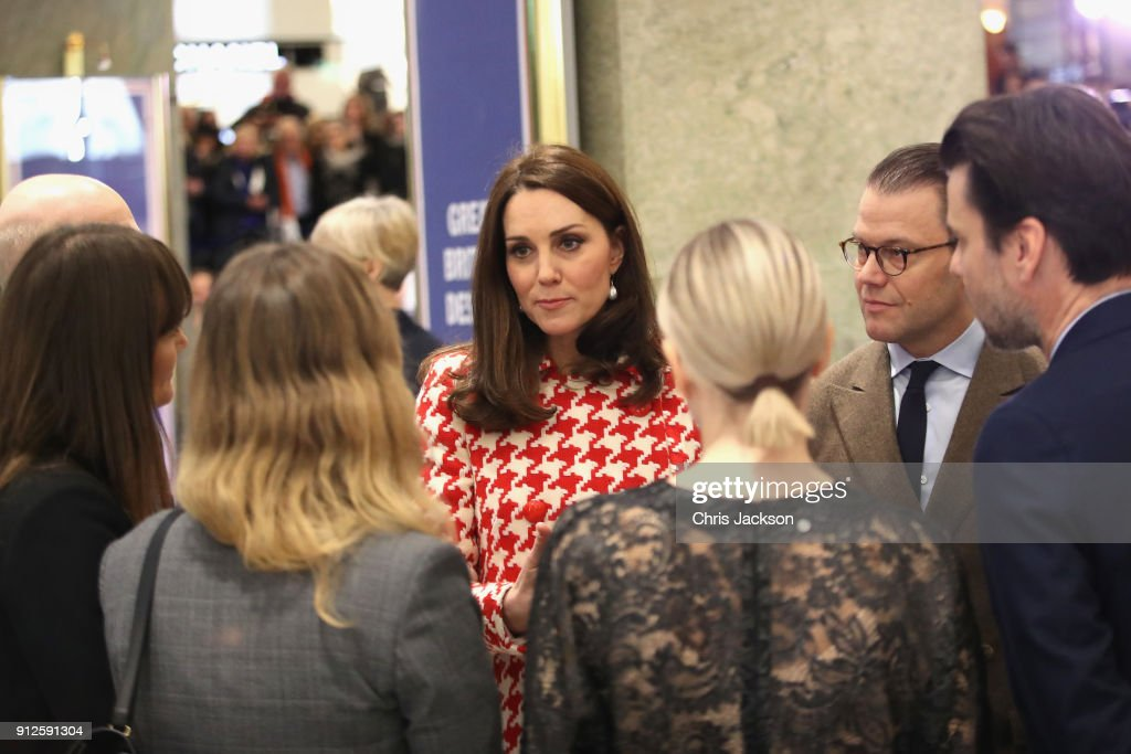 Catherine, Duchess of Cambridge and Prince William, Duke of Cambridge accompanied by Crown Princess Victoria of Sweden and Prince Daniel of Sweden visit one of Sweden's leading department stores NK to open an interactive exhibition of UK design, fashion and brands that operate in Sweden during day two of their Royal visit to Sweden and Norway on January 31, 2018 in Stockholm, Sweden.
