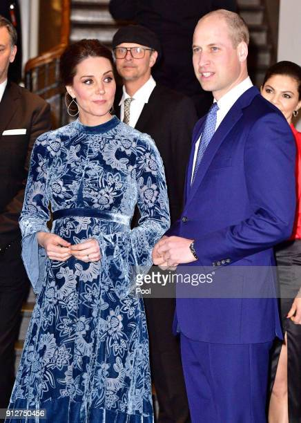Catherine Duchess of Cambridge and Prince William Duke of Cambridge during a reception to celebrate Swedish culture at the Fotografiska Gallery on...