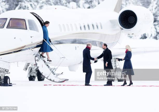 Catherine Duchess of Cambridge and Prince William Duke of Cambridge meet Crown Prince Haakon of Norway and Crown Princess MetteMarit of Norway at...