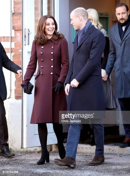 Catherine Duchess of Cambridge and Prince William Duke of Cambridge depart Hartvig Nissen School the location for the successful Norwegian television...