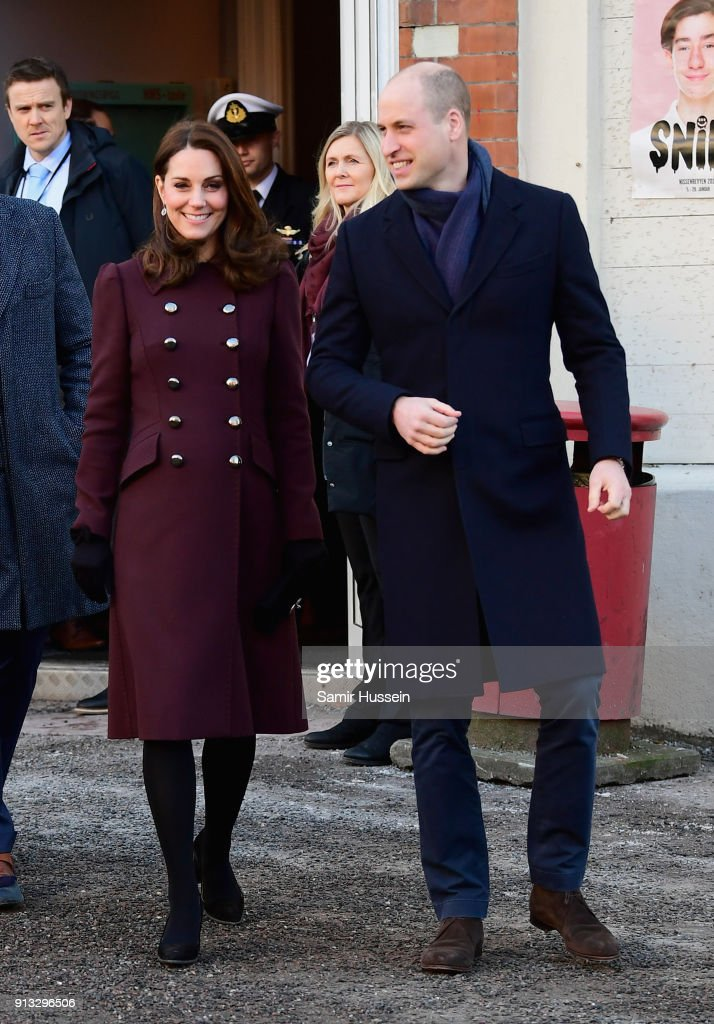 Catherine, Duchess of Cambridge and Prince William, Duke of Cambridge depart Hartvig Nissen School, the location for the successful Norwegian television programme 'Skam', where they met the actors and producers of the show and students to learn about the effect 'Skam' has had on bringing challenges facing teenagers out into the open on day 4 of their visit to Sweden and Norway on February 2, 2018 in Oslo, Norway.