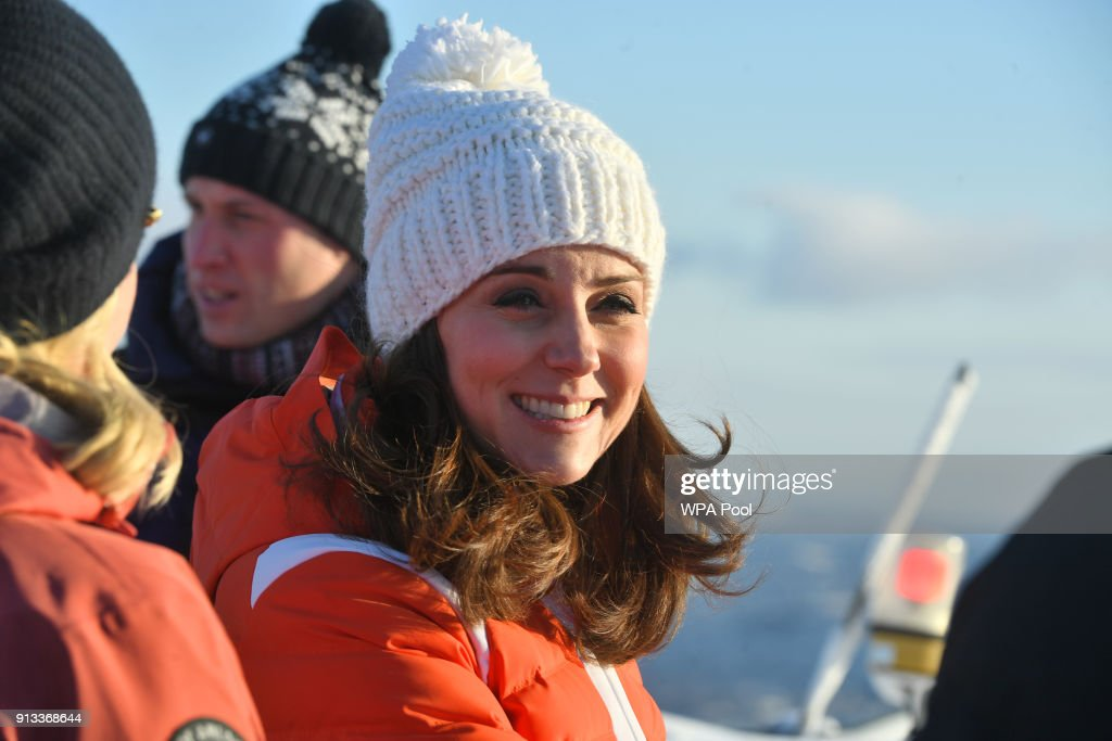 Catherine, Duchess of Cambridge and Prince William, Duke of Cambridge before meeting junior ski jumpers from Norway's national team at the top of the Holmenkollen ski jump, where she and Prince William, Duke of Cambridge, take a short tour of the museum and ascend to the top of ski jump to talk with and observe junior ski jumpers from Norway's national team on day 4 of their visit to Sweden and Norway on February 2, 2018 in Oslo, Norway.