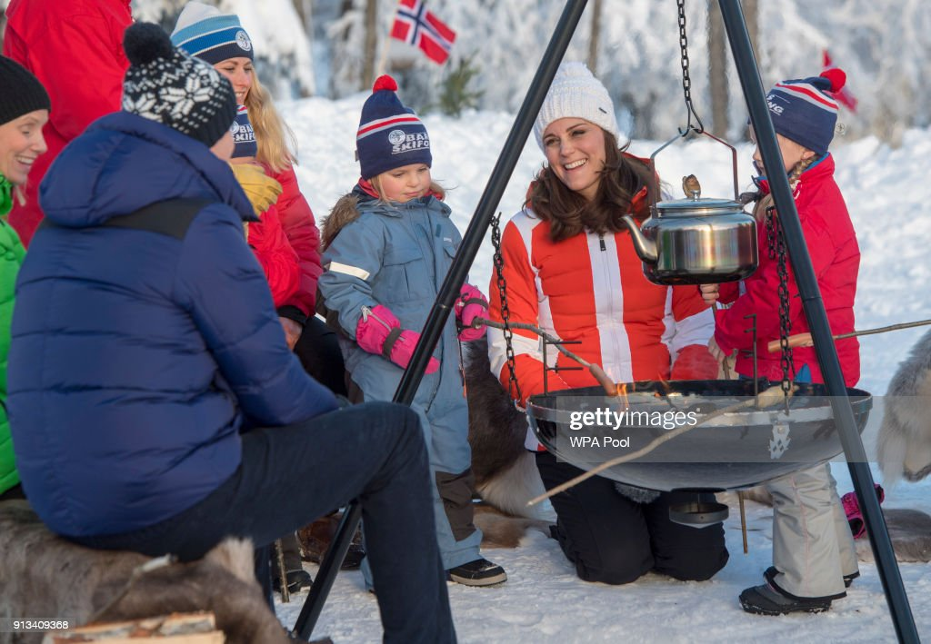 Catherine, Duchess of Cambridge and Prince William, Duke of Cambridge attend an event organised by the Norwegian Ski Federation, where they join local nursery children in a number of outdoors activities at Holmenkollen ski jump on day 4 of their visit to Sweden and Norway on February 2, 2018 in Oslo, Norway.