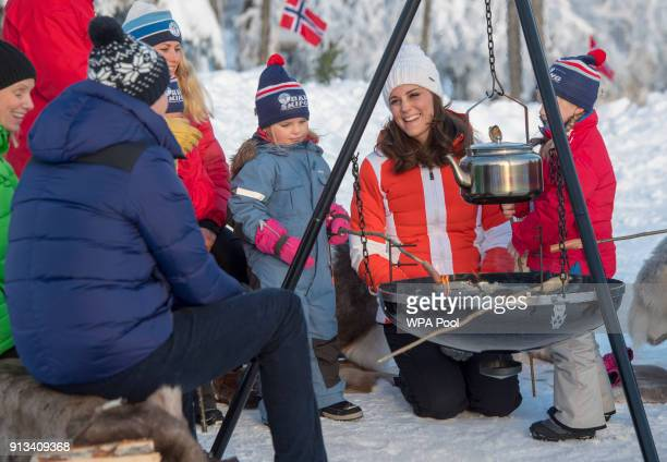 Catherine Duchess of Cambridge and Prince William Duke of Cambridge attend an event organised by the Norwegian Ski Federation where they join local...