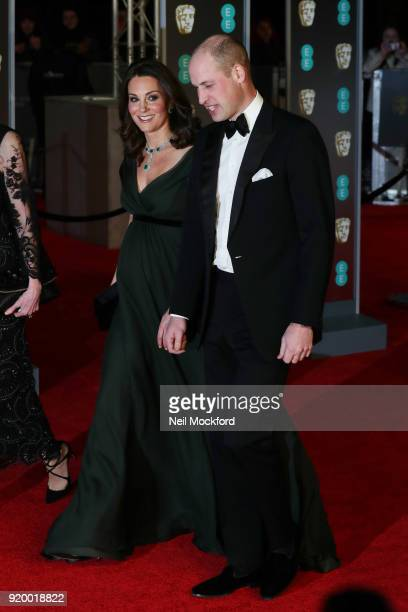 Catherine Duchess of Cambridge and Prince William Duke of Cambridge attend the EE British Academy Film Awards at the Royal Albert Hall on February 18...
