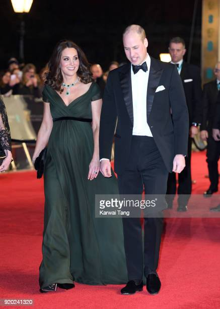 Catherine Duchess of Cambridge and Prince William Duke of Cambridge attend the EE British Academy Film Awards held at the Royal Albert Hall on...