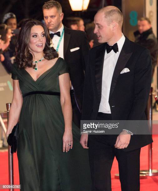 Catherine Duchess of Cambridge and Prince William Duke of Cambridge attend the EE British Academy Film Awards held at Royal Albert Hall on February...