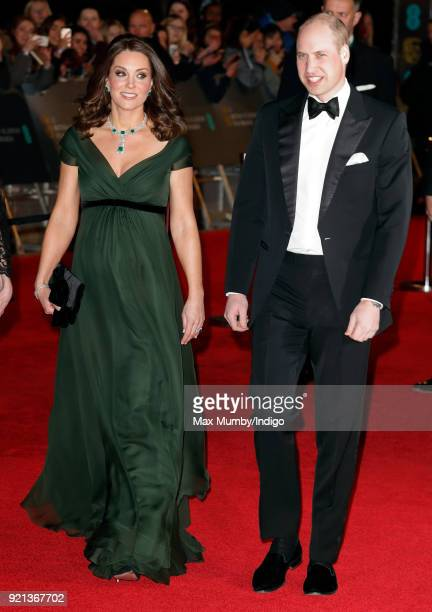 Catherine, Duchess of Cambridge and Prince William, Duke of Cambridge attend the EE British Academy Film Awards held at the Royal Albert Hall on...