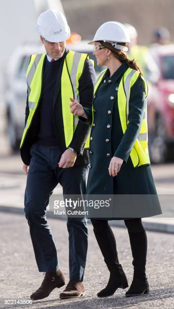 Catherine, Duchess of Cambridge and Prince William, Duke of Cambridge visit The Northern Spire Bridge on February 21, 2018 in Sunderland, England.
