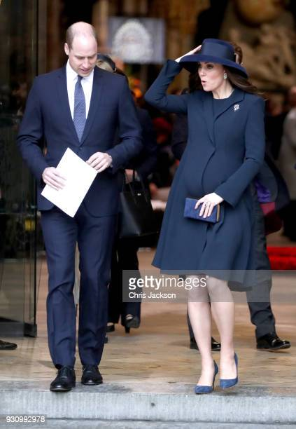 Catherine Duchess of Cambridge and Prince William Duke of Cambridge depart from the 2018 Commonwealth Day service at Westminster Abbey on March 12...