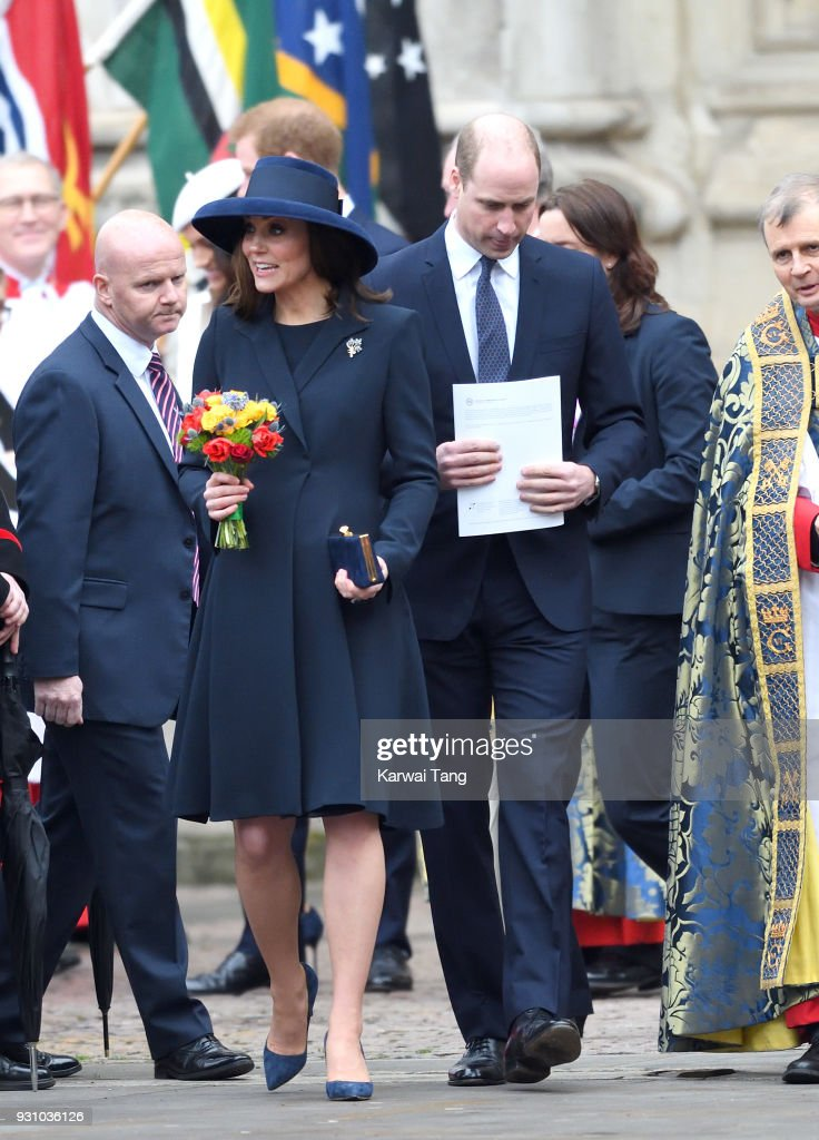 Catherine, Duchess of Cambridge and Prince William, Duke of Cambridge attend the 2018 Commonwealth Day service at Westminster Abbey on March 12, 2018 in London, England.