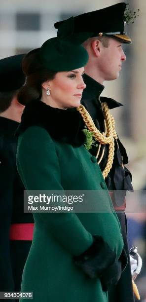 Catherine, Duchess of Cambridge and Prince William, Duke of Cambridge attend the annual Irish Guards St Patrick's Day Parade at Cavalry Barracks on...