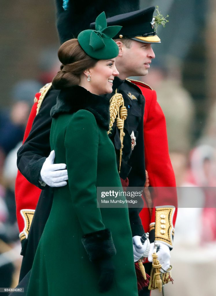 Catherine, Duchess of Cambridge and Prince William, Duke of Cambridge attend the annual Irish Guards St Patrick's Day Parade at Cavalry Barracks on March 17, 2018 in Hounslow, England.