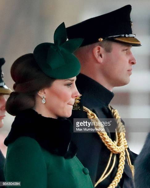 Catherine Duchess of Cambridge and Prince William Duke of Cambridge attend the annual Irish Guards St Patrick's Day Parade at Cavalry Barracks on...
