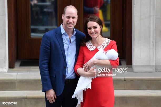 Catherine, Duchess of Cambridge and Prince William, Duke of Cambridge depart the Lindo Wing with their newborn son Prince Louis of Cambridge at St...