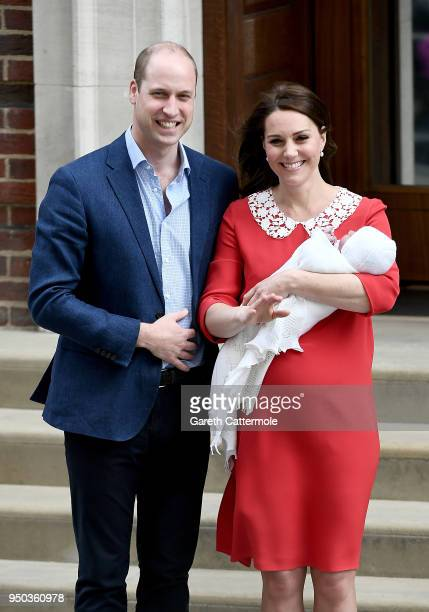 Catherine Duchess of Cambridge and Prince William Duke of Cambridge depart the Lindo Wing with their newborn son Prince Louis of Cambridge at St...