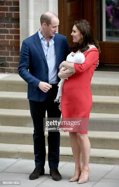 Catherine Duchess of Cambridge and Prince William Duke of Cambridge depart the Lindo Wing with their newborn son at St Mary's Hospital on April 23...