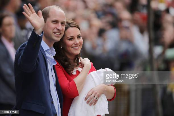 Catherine Duchess of Cambridge and Prince William Duke of Cambridge depart the Lindo Wing with their new born son Prince Louis of Cambridge at St...