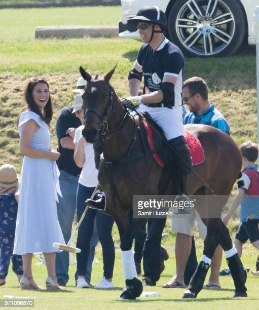 Catherine Duchess of Cambridge and Prince William Duke of Cambridge attend the Maserati Royal Charity Polo Trophy at Beaufort Park on June 10 2018 in...