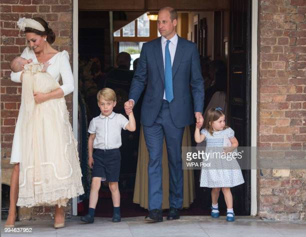 Catherine Duchess of Cambridge and Prince William Duke of Cambridge with their children Prince George Princess Charlotte and Prince Louis after...