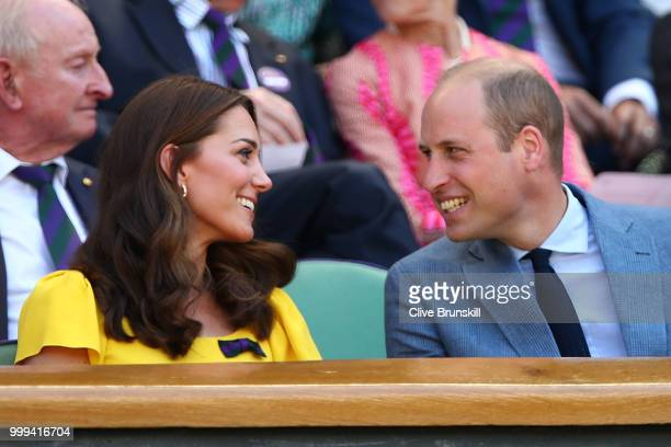 Catherine Duchess of Cambridge and Prince William Duke of Cambridge attend the Men's Singles final on day thirteen of the Wimbledon Lawn Tennis...