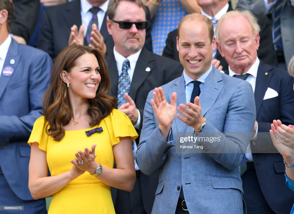 Catherine, Duchess of Cambridge and Prince William, Duke of Cambridge attend the men's single final on day thirteen of the Wimbledon Tennis Championships at the All England Lawn Tennis and Croquet Club on July 15, 2018 in London, England.