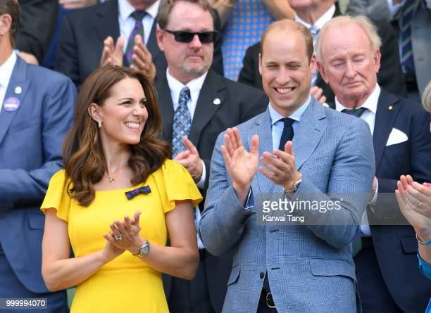 Catherine Duchess of Cambridge and Prince William Duke of Cambridge attend the men's single final on day thirteen of the Wimbledon Tennis...