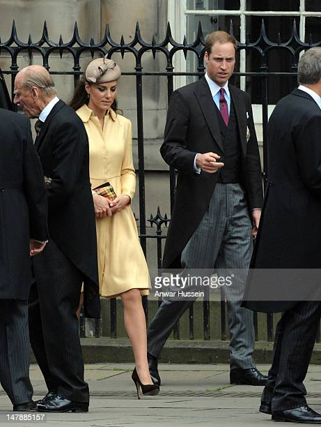 Catherine, Duchess of Cambridge and Prince William leave following the Thistle Service for the installation of Prince William as a Knight of the...