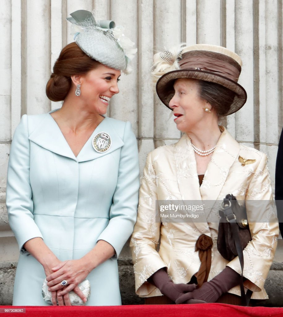 Catherine, Duchess of Cambridge and Princess Anne, Princess Royal watch a flypast to mark the centenary of the Royal Air Force from the balcony of Buckingham Palace on July 10, 2018 in London, England. The 100th birthday of the RAF, which was founded on on 1 April 1918, was marked with a centenary parade with the presentation of a new Queen's Colour and flypast of 100 aircraft over Buckingham Palace.