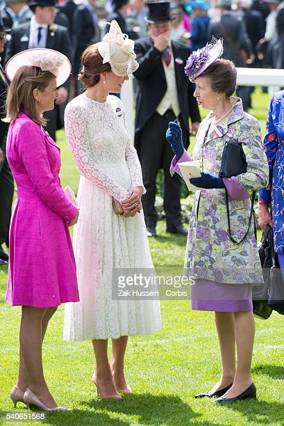 Catherine Duchess of Cambridge and Princess Anne the Princess Royal attend day 2 of Royal Ascot at Ascot Racecourse on June 15 2016 in Ascot England