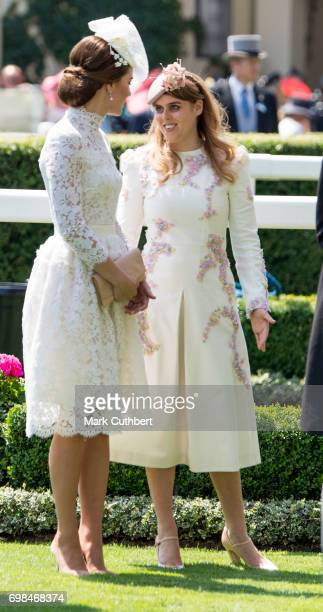 Catherine Duchess of Cambridge and Princess Beatrice attend Royal Ascot 2017 at Ascot Racecourse on June 20 2017 in Ascot England
