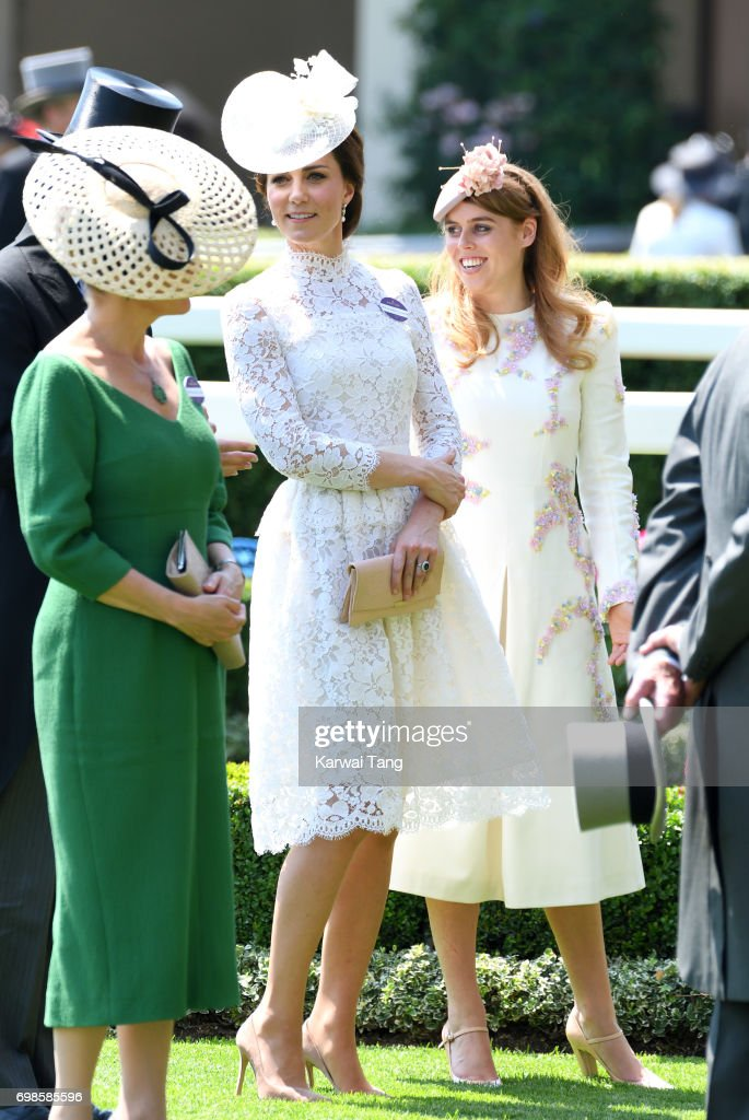Catherine, Duchess of Cambridge and Princess Beatrice of York attend Royal Ascot 2017 at Ascot Racecourse on June 20, 2017 in Ascot, England.