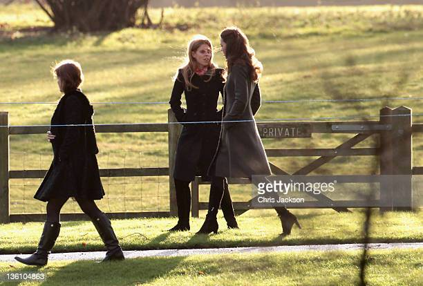 25 Catherine Duchess of Cambridge and Princess Beatrice walk from Sandringham Church after an early Christmas Day service at Sandringham on December...