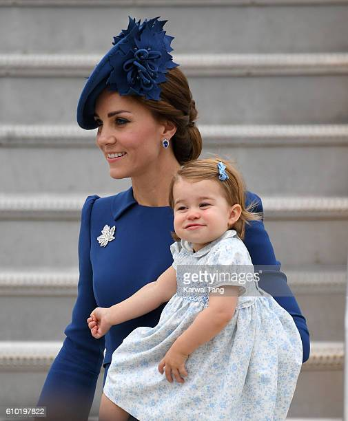 Catherine Duchess of Cambridge and Princess Charlotte arrive at Victoria Airport ahead of their Royal Tour of Canada and Yukon on September 24 2016...