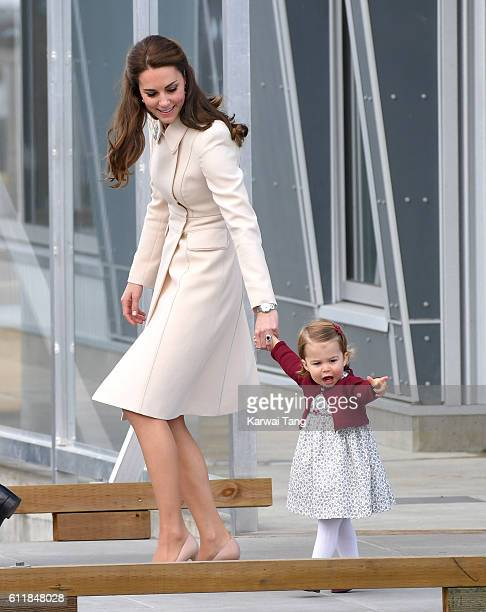 Catherine Duchess of Cambridge and Princess Charlotte depart Victoria after their Royal Tour of Canada on October 1 2016 in Victoria Canada