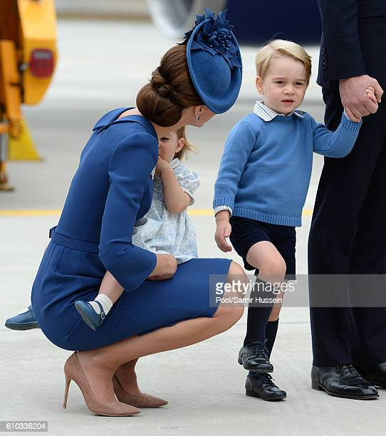 Catherine Duchess of Cambridge and Princess Charlotte fo Cambridge and Prince George of Cambridge arrive at Victoria Airport for the start of the...