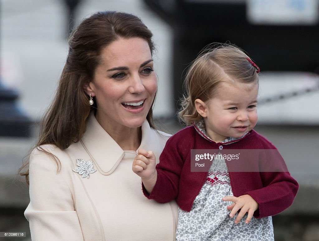 Catherine, Duchess of Cambridge and Princess Charlotte leave from Victoria Harbour to board a sea-plane on the final day of their Royal Tour of Canada on October 1, 2016 in Victoria, Canada. The Royal couple along with their Children Prince George of Cambridge and Princess Charlotte are visiting Canada as part of an eight day visit to the country taking in areas such as Bella Bella, Whitehorse and Kelowna
