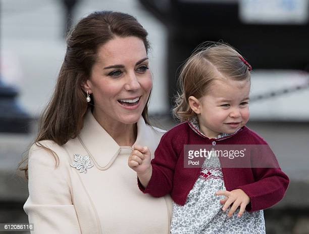 Catherine, Duchess of Cambridge and Princess Charlotte leave from Victoria Harbour to board a sea-plane on the final day of their Royal Tour of...