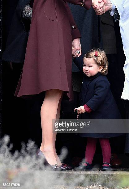 Catherine Duchess of Cambridge and Princess Charlotte of Cambridge attend a Christmas Day service at St Marks Church on December 25 2016 in...