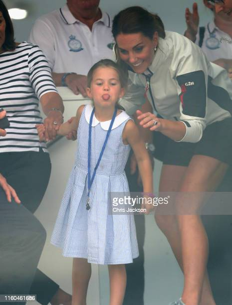 Catherine Duchess of Cambridge and Princess Charlotte of Cambridge at the prizegiving after the inaugural King's Cup regatta hosted by the Duke and...