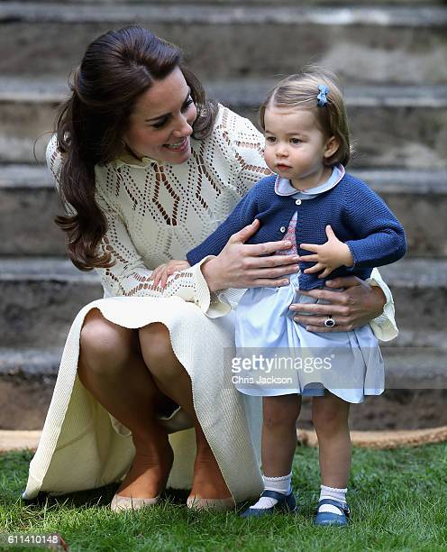 Catherine, Duchess of Cambridge and Princess Charlotte of Cambridge at a children's party for Military families during the Royal Tour of Canada on...