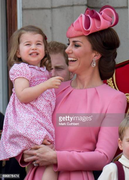 Catherine Duchess of Cambridge and Princess Charlotte of Cambridge on the balcony at Buckinghgam Palace during the annual Trooping The Colour parade...