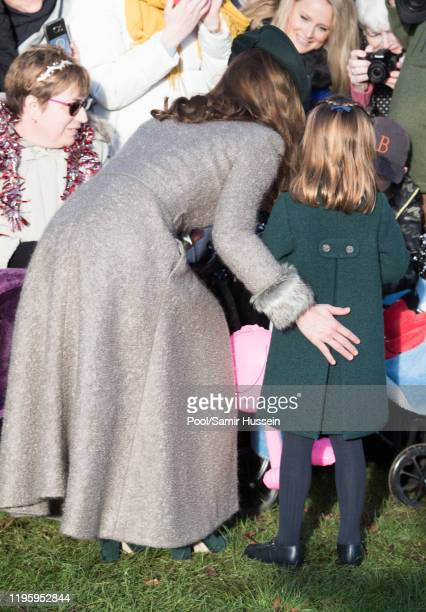 Catherine, Duchess of Cambridge and Princess Charlotte of Cambridge attend the Christmas Day Church service at Church of St Mary Magdalene on the...