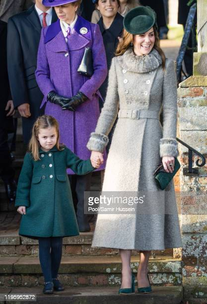 Catherine Duchess of Cambridge and Princess Charlotte of Cambridge attend the Christmas Day Church service at Church of St Mary Magdalene on the...