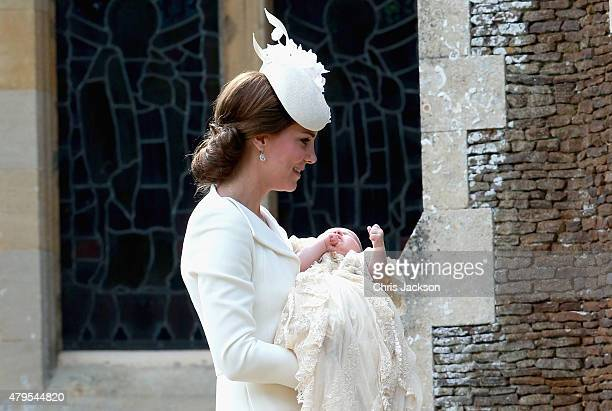 Catherine, Duchess of Cambridge and Princess Charlotte of Cambridge arrive at the Church of St Mary Magdalene on the Sandringham Estate for the...