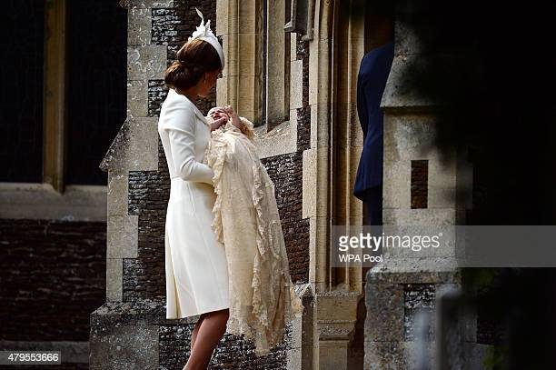 Catherine Duchess of Cambridge and Princess Charlotte of Cambridge arrive at the Church of St Mary Magdalene on the Sandringham Estate for the...