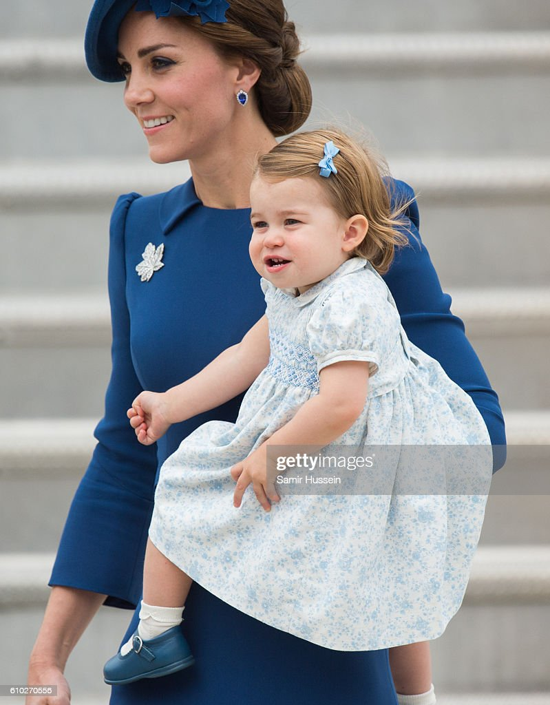 Catherine, Duchess of Cambridge and Princess Charlotte of Cambridge arrive at Victoria airport for the start of of their Royal tour of Canada on September 24, 2016 in Victoria, Canada.