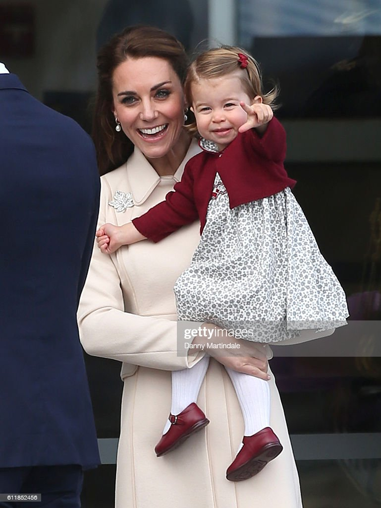 Catherine, Duchess of Cambridge, and Princess Charlotte of Cambridge are seen leaving from Victoria Harbour Airport on October 1, 2016 in Victoria, Canada.