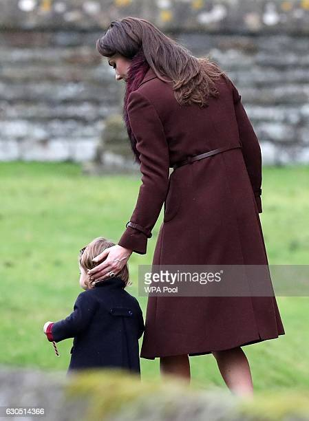 Catherine Duchess of Cambridge and Princess Charlotte of Cambridge leave St Mark's Church on Christmas Day on December 25 2016 in Bucklebury Berkshire