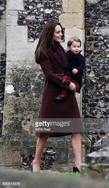 Catherine Duchess of Cambridge and Princess Charlotte of Cambridge arrive to attend the service at St Mark's Church on Christmas Day on December 25...